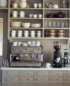 Coffee LOVE. Open shelves.  Organized kitchen.  Martha Stewart's New Bedford home.  MyMuseTimesTwo: Inspiration in Martha's Kitchen