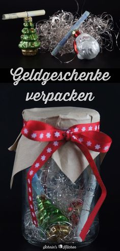 Geldgeschenke verpacken für Weihnachten Packing DIY money gifts for Christmas is also last minute, pretty in a jar, very quick and easy with only a little material www. Diy Gifts Last Minute, Christmas Crafts, Christmas Decorations, Christmas Christmas, Navidad Diy, Country Crafts, Diy Weihnachten, Diy Crafts For Kids, Homemade Gifts