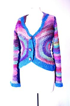 crocheted rainbow jacket @bewool