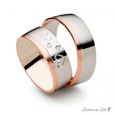 "SET Eheringe / Trauringe ""Hearts"" 6 mm in Rosegold/ Wei&szl"