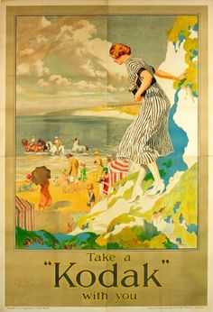 Kodak Girl Fred Pegram, 1920s - rare and very large original vintage advertising poster - Take a Kodak with you - featuring the iconic Kodak Girl by the British artist Fred Pegram (Frederick Pegram listed on AntikBar.co.uk