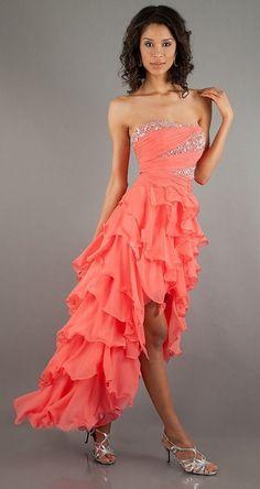 Asymmetrical Skirt Strapless Coral High Low Dress Chiffon Ruffle $237.99