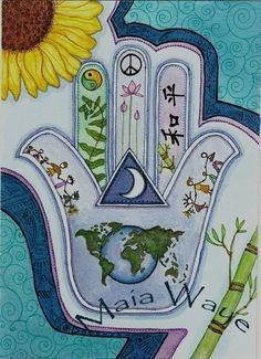 Hamsa for Peace Earth and Peoples      8 x 10 by maiaart on Etsy