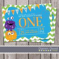 Printable birthday invite | monster themed birthday | one year old birthday