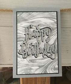 Happy Birthday Thinlits is a must for a quick & wow card. The first one uses the Marbled background stamp inked in Smokey Slate & the se... Bday Cards, Birthday Cards For Men, Male Birthday, Birthday Banners, Birthday Balloons, Marble Card, Masculine Birthday Cards, Masculine Cards, Happy Birthday Gorgeous