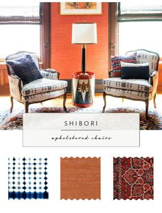 shibori gives reupholstered vintage chairs a second life | via coco+kelley