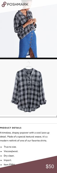 Madewell Terrace Lace-up Shirt in Owens Plaid New in plastic! Madewell Tops Button Down Shirts