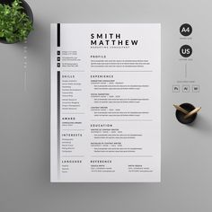 Resume Template. A modern template to give an employer a great first impression and help you land your dream job. #resume #cv #minimal #template #modern #dream #job #creative Resume Layout, Job Resume, Resume Format, Resume Tips, Resume Writing, Letterhead Design, Resume Design Template, Cv Template, Resume Templates