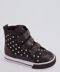 $11.99  Take a look at this Launch Black & White Polka Dot Hi-Top Sneaker by Kick-Start: Kids' Sneakers on #zulily today!