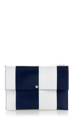 Night Blue Stripe Bandoleer Shoulder Bag by Marni for Preorder on Moda Operandi