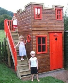 Home Design, Appealing Large Outdoor Playhouses For Kids On Backyard And Outdoor Garden Decor Ideas: Attractive Kids Outdoor Wooden Playhouse Build A Playhouse, Playhouse Outdoor, Wooden Playhouse, Playhouse Ideas, Castle Playhouse, Cubby Houses, Play Houses, Backyard Fort, Old West Saloon