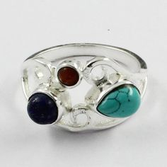 Lapis, Coral & Turquoise Stone Beautiful Design 925 Sterling Silver Ring by JaipurSilverIndia on Etsy