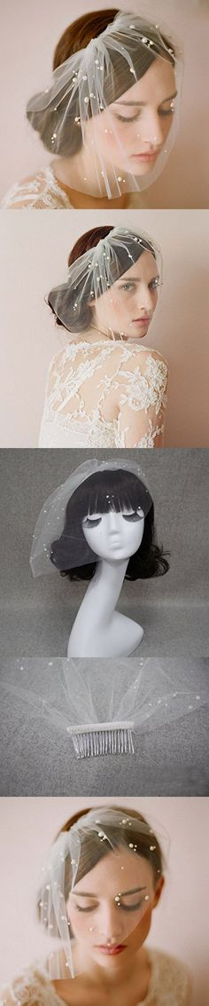 Be Nice Elegant Ivory Short Tulle Birdcage with Comb Accessories Bridal Pearl Wedding Veil Headwear for Bride