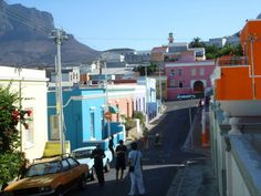 Cape Town Scenery Photography, Beautiful Scenery, Cape Town, Street View, Colours, Life, Cobblestone Pavers, Colorful Houses, Mosque