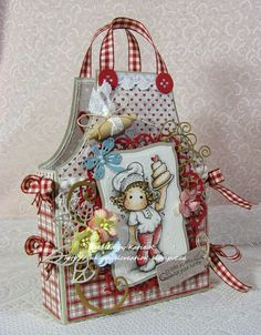 Inky Angel: Recipe Card Caddy ~ Buttons and Bows at ABC Challenges