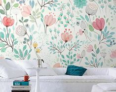 Hand Painted Watercolor Garden Wallpaper Wall Mural, Fresh Small Flowers Wall Murals, Nursery Girls Bedroom Living Room Wallpaper – My Company Green Leaf Wallpaper, Wallpaper Wall, Watercolor Wallpaper, Leaves Wallpaper, Pastel Watercolor, Pink Wallpaper Living Room, Feature Wallpaper, Wallpaper Stickers, Girls Bedroom