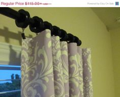 SALE TWO Curtain Panels Damask Curtains Custom by SewPanache, $105.00