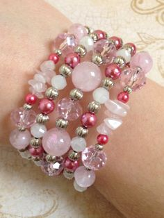 Rose Quartz Pink Pearl and Glass Stack Bracelet by HighStrungBeading