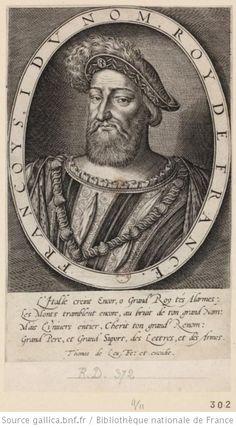 Portrait de François I°[estampe]- Aux termes du Traité de Madrid, François I° doit céder le duché de Bourgogne et le Charolais, renoncer à toute revendication sur l'Italie, les Flandres et l'Artois, réintégrer Charles de Bourbon au sein du royaume de France et restituer ses terres, et épouser 2léonore de Habsbourg, soeur de Charles Quint. François est libéré en échange de ses 2 fils aînés, le dauphin François de France et Henri de France (futur Henri II).