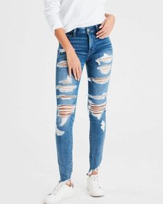 Best Women celio jeans high waisted bootcut jeans jeans cargo ppshoop - Curvy Jeans for women - Ideas of Curvy Jeans for women Cute Ripped Jeans Outfit, Grey Ripped Jeans, Womens Ripped Jeans, Ripped Skinny Jeans, High Jeans, High Waist Jeans, Women's Jeans, Denim Shorts, American Eagle Jeans