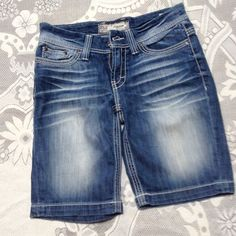 "BKE  Payton shorts, 19"" from waist, distressed, , The cutest BKE longer shorts. For the shyer girls, sparkle on pockets, but not overkill. Very little wear. From Buckle Store. Perfect for you ladies, who don't want to show it all BKE Shorts Jean Shorts"