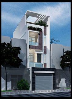 Mặt tiền của mẫu thiết kế nhà phố có giếng trời rộng rãi