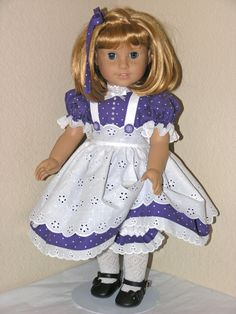 American Girl Doll Clothes - Nellie, Ruthie 18 inch Dress, Pinafore, Waist Sash, Bloomers, Hair Tie - Purple Dot via Etsy