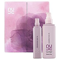 This set of Nude's nutrient-rich oils replenishes skin, both day and night. The Cleansing Facial Oil effortlessly melts stubborn makeup without irritation to reveal a velvety soft, luminous complexion. The Replenishing Night Oil, awarded the highest score ever by the Anti-Ageing Beauty Bible, transforms cells overnight into healthy, beaming skin. Both formulas come packed with damage-resisting essential nutrients and antioxidants, as well as fragrant notes of rose, vanilla, and hazelnuts.