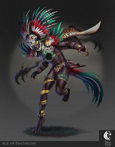 ArtStation - Age of Pantheons - Tezcatlipoca, Davide Scalia Character Concept, Character Art, Concept Art, Character Design, Aztecas Art, Aztec Tattoo Designs, Arte Sci Fi, Aztec Culture, Aztec Warrior