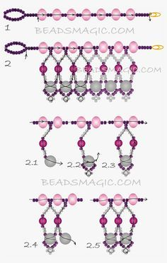 FREE Pattern - MARIPOSA Necklace   Beads Magic. Use: crystal rondelles 6-8mm, pearls 4mm and 6mm, seed beads 11/0. Page 2 of 2