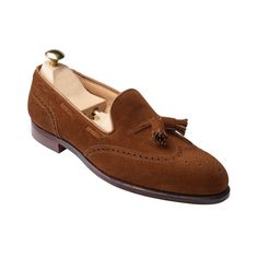 c3bfc426e314 Men Brown Tassel Loafer Slip On Brogue Toe Wing Tip Suede Leather Shoes NEW
