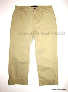NYDJ NOT YOUR DAUGHTERS JEANS Womens 4 KHAKI Jean Capris Cropped Pants Tan #NotYourDaughtersJeans #CapriCropped