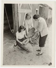 Mount Holyoke students pouring potatoes into a bag :: Archives & Special Collections Digital Images :: 1942