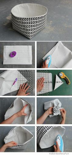 DIY Reversible Fabric Storage Bin is part of painting Fabric Bins - Make these to hold all your household goodies! Fabric Storage Bins, Fabric Boxes, Fabric Basket, Craft Storage, Diy Storage Boxes, Storage Ideas, Diy Bags Storage, Fabric Organizer, Basket Storage