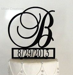 Monogram Cake Topper with Event Date Personalized with a B C D E F G H I J K L M N O P Q R S T U V W X Y Z - CHECK OUT @ http://www.getit4me.org/baking/1153/?364