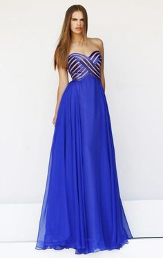 Wholesale 2015 Evening Gown - Buy 2015 Royal Blue Prom Evening Dresses A Line Chiffon Sweetheart Backless Sleeveless Floor Length Party Pageant Bridesmaid Evening Gown New, $108.27 | DHgate