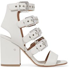 Laurence Dacade Kloe buckled leather sandals (€430) ❤ liked on Polyvore featuring shoes, sandals, heels, white, white sandals, white heeled sandals, high heel sandals, leather sandals and high heeled footwear