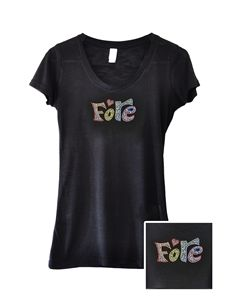 """Black Bling T-shirt with """"FORE"""" in crystals. Soft, form-fitting, and thin material for ultimate comfort.  Made with 65% Polyester and 35% Rayon. - by Navika Golf Gifts"""