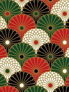 (千代紙)2種4色の意匠化した菊を青海波文様のように配列し千代紙風にアレンジしました。  Washi paper - re-Pinned by HankoDesigns.Com