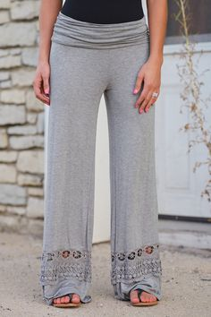 A Whole New World Palazzo Pants - Heather Grey from Closet Candy Boutique