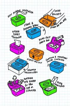 From the Parent Hacks book: New uses for a used diaper wipes container. Brilliant!