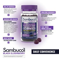 Sambucol Gummies are the delicious new way for everyone to enjoy the power of Sambucol Black Elderberry!  Sambucol Gummies are pectin based, sweetened only with pure cane sugar, and contains no artificial flavors or colors.  They are also gluten, nut, soy, dairy and egg free. Zinc Benefits, Elderberry Benefits, Elderberry Gummies, Health Benefits, Sambucol Black Elderberry, Vitamin C And Zinc, Nutrition Program, Natural Sugar, Natural Flavors
