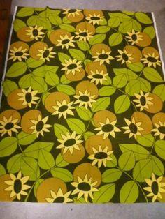 Tampella Finland Vintage Fabric Sunflowers 70's Original | eBay