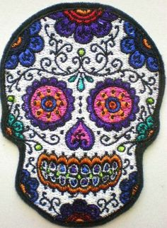 Embroidered Sugar Skull Applique, Patch, Day of the Dead, Gothic, Skull Patch, Iron On Patch by ElsieMichelleDesigns on Etsy https://www.etsy.com/listing/124748662/embroidered-sugar-skull-applique-patch