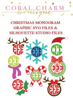 This is for two zipped folders with 8 monogram-compatible graphics in the form of SVG files AND Silhouette Studio files. Once purchased you