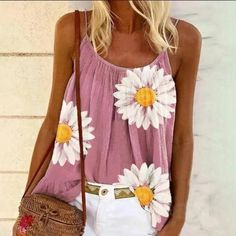 women summer camis fashion floral print chrysanthemum sling 2020 new – bodyconest Cami Top Outfit, Cami Tops, Plus Size Tops, Casual Shirts, Floral Prints, Bodycon Dress, Chrysanthemum, Lady, Outfits