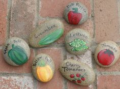 Hand Painted Stone Vegetable Garden Markers I could make these but maybe not for as cheap as she is selling them!