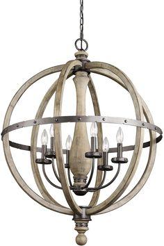 Kichler 43327DAG Evan Chandelier 6-Light, Distressed Antique Gray #ceilingfans Candle Chandelier, 5 Light Chandelier, Pendant Lighting, Light Pendant, Globe Pendant, Wooden Chandelier, Vintage Chandelier, Beach Style Chandeliers, Home Decor