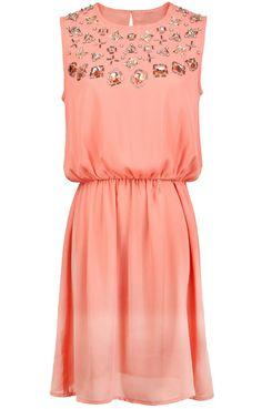 Peach / Coral Sleeveless Rhinestone Bead Chiffon Dress