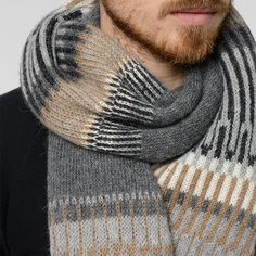 The Öland island is known for their beautiful knitting patterns. Our Öland style is a reinterpretation of these patterns in the color palette often associated with the fair Swedish island in the Baltic Sea. Diy Knitting Scarf, Mens Knitted Scarf, Fair Isle Knitting, Knit Cowl, Knitted Shawls, Knit Crochet, Knitting Patterns, Cowl Patterns, Knit Scarves